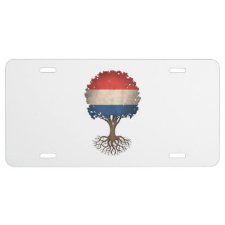 Dutch Flag Tree of Life Customizable License Plate