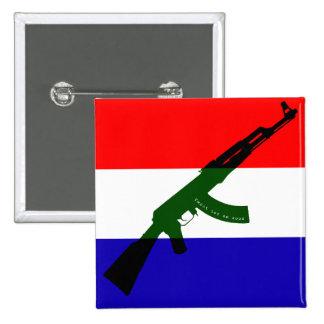 Dutch flag with AK47 Pinback Button