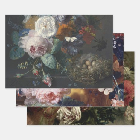 DUTCH FLORAL HEAVY WEIGHT DECOUPAGE PRINTS WRAPPING PAPER SHEETS
