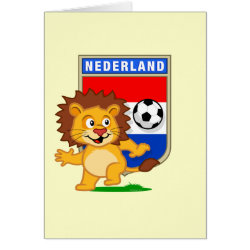 Note Card with Dutch Voetbal Lion / Leeuw design