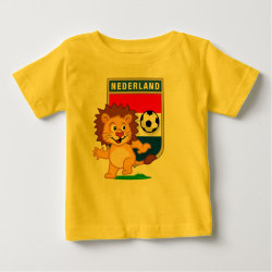 Baby Fine Jersey T-Shirt with Dutch Voetbal Lion / Leeuw design