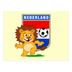 Postcard with Dutch Voetbal Lion / Leeuw design