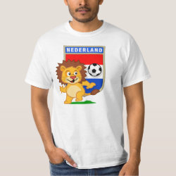 Men's Crew Value T-Shirt with Dutch Voetbal Lion / Leeuw design