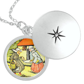 Dutch Girl and Old Lady Round Locket Necklace