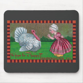 Dutch Girl and Turkey Vintage Thanksgiving Mouse Pad