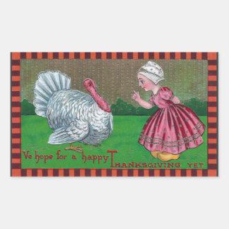 Dutch Girl and Turkey Vintage Thanksgiving Rectangular Sticker