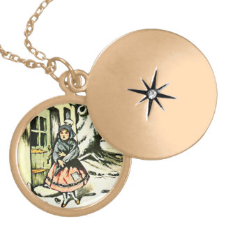 Dutch Girl in Woods Locket Necklace