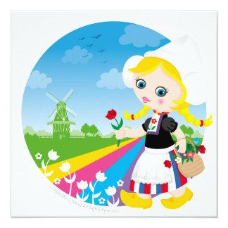 Dutch girl 5.25x5.25 square paper invitation card