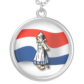 Dutch Girl Round Pendant Necklace