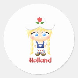 Dutch Girl Round Stickers