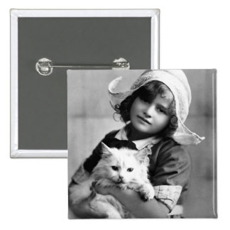 """""""Dutch Girl with Cat"""" Vintage Photograph Pinback Button"""