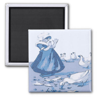 Dutch Girl With Geese, Blue Delft Look Magnet