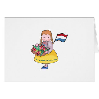 DUTCH GIRL WITH TULIPS AND FLAG GREETING CARD