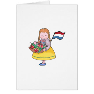 DUTCH GIRL WITH TULIPS AND FLAG CARD