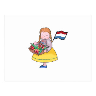 DUTCH GIRL WITH TULIPS AND FLAG POST CARD