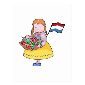 DUTCH GIRL WITH TULIPS AND FLAG POSTCARD
