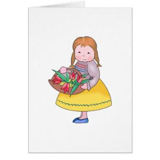 DUTCH GIRL WITH TULIPS GREETING CARDS