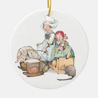Dutch Girls Rock the Cradle Ceramic Ornament