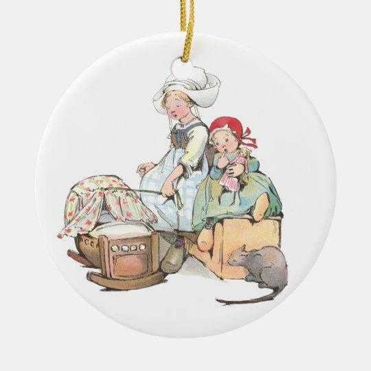 Dutch Girls Rock the Cradle Ceramic Ornament