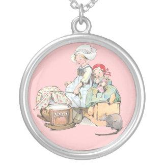 Dutch Girls Rock the Cradle Round Pendant Necklace