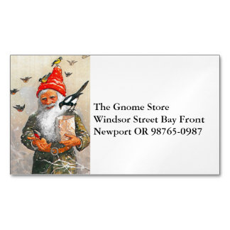 Dutch Gnome Feeding the Birds Business Card Magnet