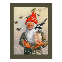 Dutch Gnome Feeding the Birds Postcard