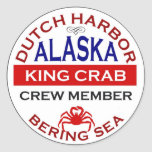 Dutch Harbor Alaskan King Crab Crew Member Classic Round Sticker