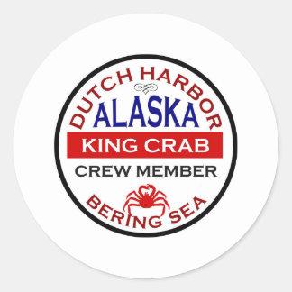 Dutch Harbor Alaskan King Crab Crew Member Round Stickers
