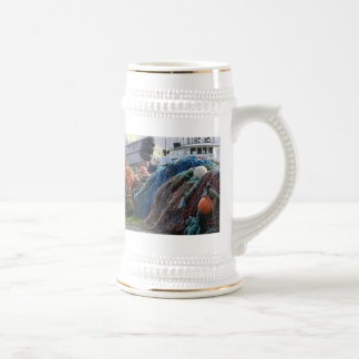 Dutch Harbor Fishing Nets and Boats Beer Stein