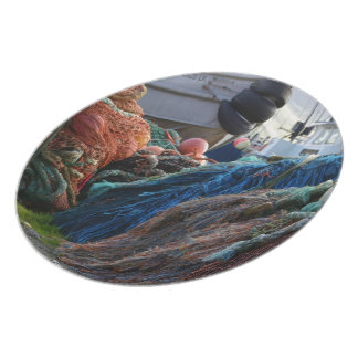 Dutch Harbor Fishing Nets and Boats Dinner Plate