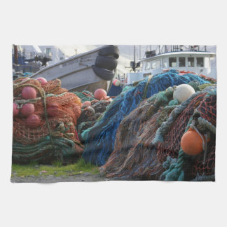 Dutch Harbor Fishing Nets and Boats Hand Towel