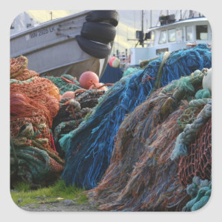 Dutch Harbor Fishing Nets and Boats Square Stickers