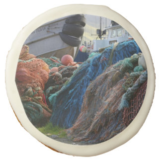 Dutch Harbor Fishing Nets and Boats Sugar Cookie