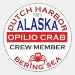 Dutch Harbor Opilio Crab Crew Member Classic Round Sticker