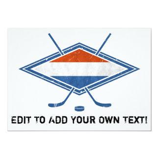 Dutch Hockey Flag Logo 5x7 Paper Invitation Card