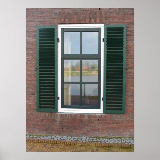 Dutch House Window & Shutters Photo Poster Print