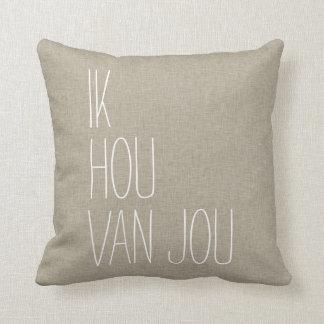 Dutch I Love You Ik Hou Van Jou Tan Throw Pillow