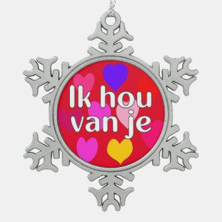 Dutch - I love you Snowflake Pewter Christmas Ornament