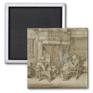 Dutch interior, 1617 2 inch square magnet