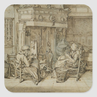 Dutch interior, 1617 square sticker