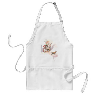 Dutch Kids, Cat and Spooky Shadows Adult Apron