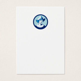 Dutch Lady Wearing Bonnet Circle Retro Business Card