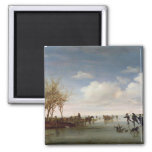 Dutch landscape with Skaters 2 Inch Square Magnet