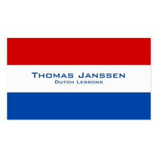 Dutch Lessons / Dutch Teacher With Dutch Flag Business Card