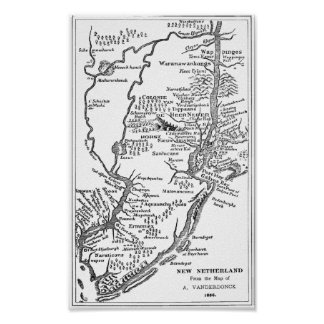 Dutch map of New York in New Netherland from 1656 Poster