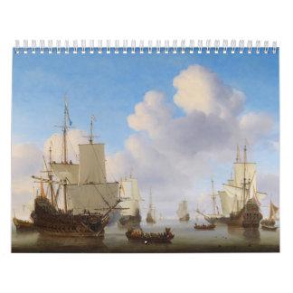 Dutch Men-o'-War and Other Shipping in a Calm Calendar