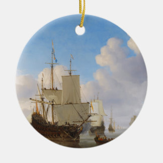 Dutch Men-o'-War and Other Shipping in a Calm Ceramic Ornament
