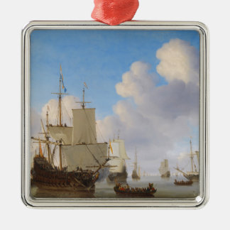 Dutch Men-o'-War and Other Shipping in a Calm Metal Ornament