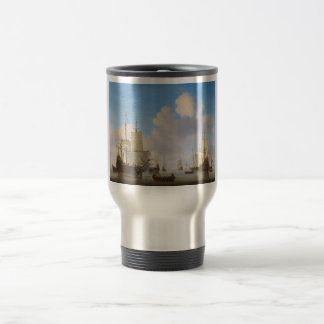 Dutch Men-o'-War and Other Shipping in a Calm 15 Oz Stainless Steel Travel Mug
