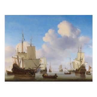 Dutch men-o'-war and other shipping in a calm postcard